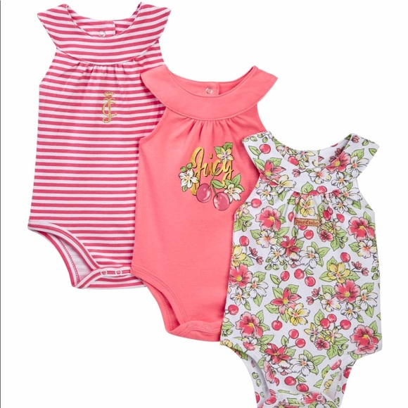 Juicy Couture Other - Set of 3 Cherry Juicy Bodysuits Baby 6-9 months